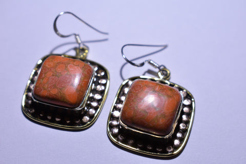 Orange Copper Turquoise Square Cabochon Cut .925 Sterling Silver Earrings 1 1/2""