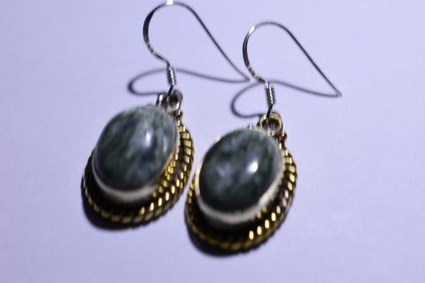 White Green Seraphinite Oval Cabochon Cut .925 Sterling Silver Earrings 1 1/2""