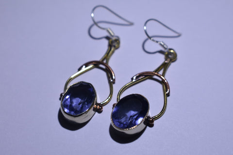Dark Purple Oval Faceted Cut .925 Sterling Silver Earrings 1 1/2""