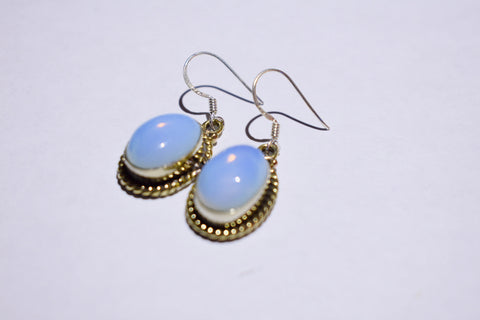 White Opalite Oval Cabochon cut .925 sterling silver earrings 1 1/2'