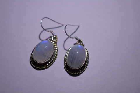 White Rainbow Moonstone Oval Cabochon Cut .925 Sterling Silver Earrings 1 1/2""