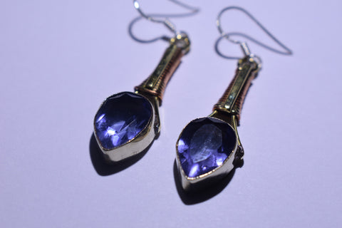 Dark Purple Teardrop Faceted Cut .925 Sterling Silver Earrings 1 1/2""