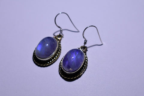 Purple Rainbow Moonstone Cabochon Cut .925 Sterling Silver Earrings 1 1/2""
