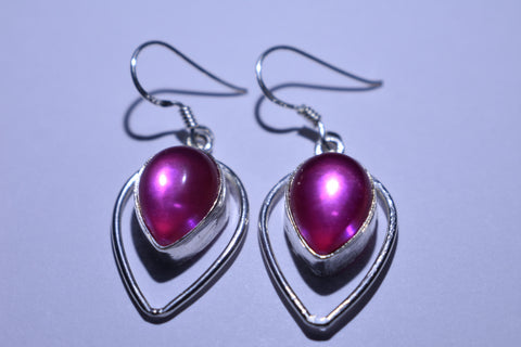 Pink Teardrop Cabochon Cut .925 Sterling Silver Earrings 1 1/2""