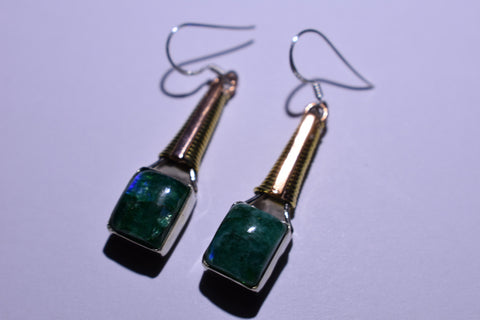 Green Emerald Moonstone Square Cabochon Cut .925 Sterling Silver Earrings 1 1/2""