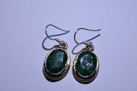 Green Oval Faceted Cut .925 Sterling Silver Earrings 1 1/2""