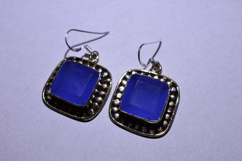Blue Fluorite Square Faceted Cut .925 Sterling Silver Earrings 1 1/2""