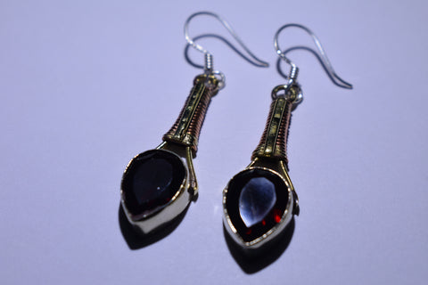 Dark Red Teardrop Faceted Cut .925 Sterling Silver Earrings 1 1/2""