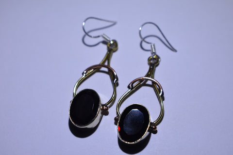 Dark Red Oval Faceted Cut .925 Sterling Silver Earrings 1 1/2""