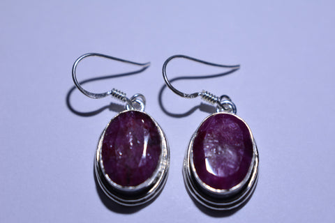 Red Oval Faceted Cut .925 Sterling Silver Earrings 1 1/2""