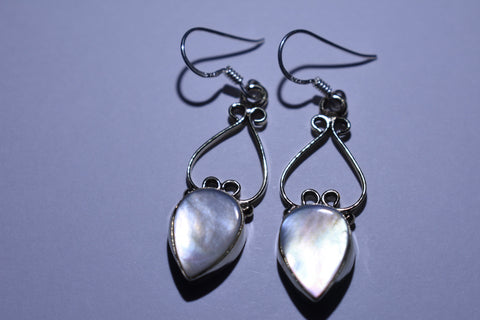 White Teardrop Cabochon Cut .925 Sterling Silver Earrings 1 1/2""