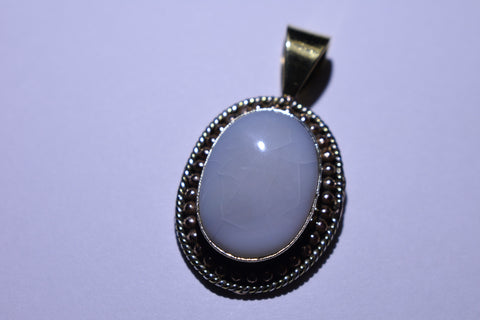 White Oval Cabochon Cut .925 Sterling Silver Necklace
