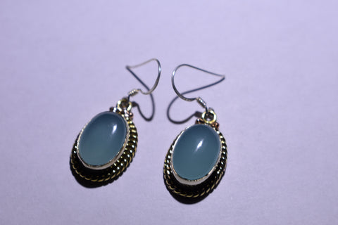 Blue Chalcedony Oval Cabochon Cut .925 Sterling Silver Earrings 1 1/2""