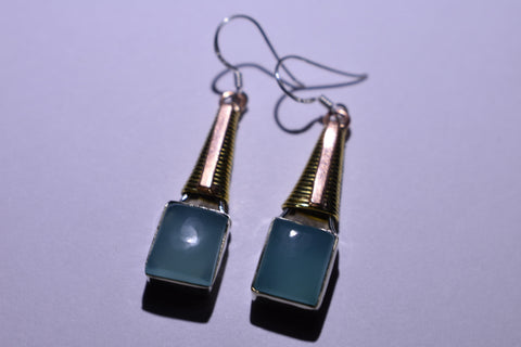 Blue Chalcedony Square Cabochon Cut .925 Sterling Silver Earrings 1 1/2""