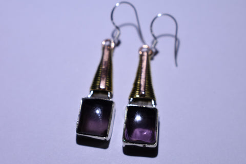 Purple Amethyst Square Cabochon Sterling Silver Earrings 1 1/2""