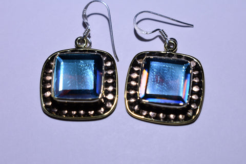Blue Mystic Fluorite Square Faceted Cut .925 Sterling Silver Earrings 1 1/2""