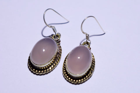 Light Pink Moonstone Oval Cabochon Cut .925 Sterling Silver Earrings 1 1/2""