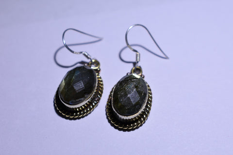 Grey Labradorite Oval Faceted Cut .925 Sterling Silver Earrings 1 1/2""