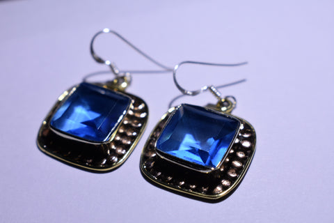 Blue Topaz Square Faceted Cut .925 Sterling Silver Earrings 1 1/2""