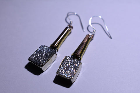 Silver Druzy Square Faceted Cut .925 Sterling Silver Earrings 1 1/2""