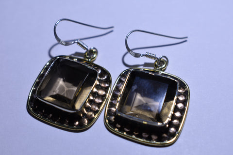 Brown Smoky Topaz Square Faceted Cut .925 Sterling Silver Earrings 1 1/2""