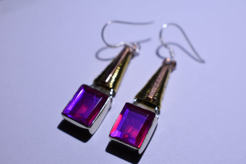 Pink Mystic Fluorite Square Faceted Cut .925 Sterling Silver Earrings 1 1/2""