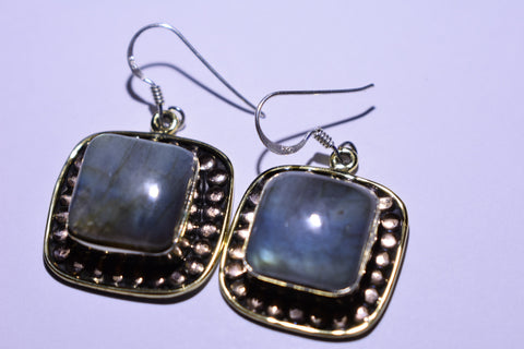 Grey Labradorite Square cabochon Cut .925 Sterling Silver Earrings 1 1/2""