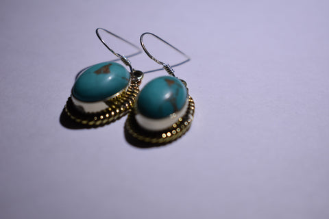 Blue Turquoise Oval Cabochon cut .925 sterling silver earrings 1 1/2'