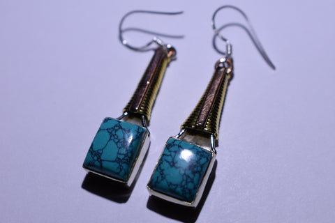 Blue Turqiouse Square Cabochon Cut .925 Sterling Silver Earrings 1 1/2""