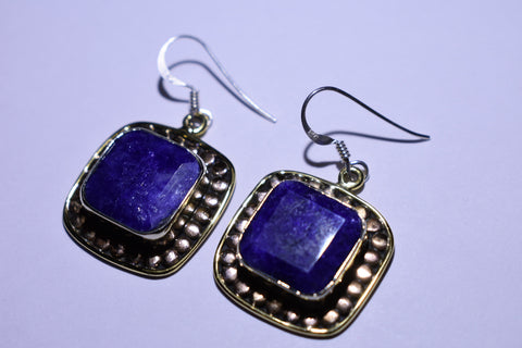 Blue Lapis Square Faceted Cut .925 Sterling Silver Earrings 1 1/2""