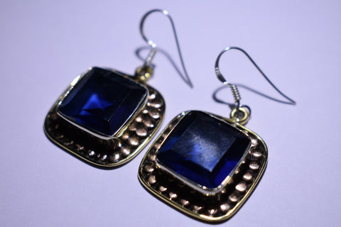 Blue Iolite Square Faceted Cut .925 Sterling Silver Earrings 1 1/2""