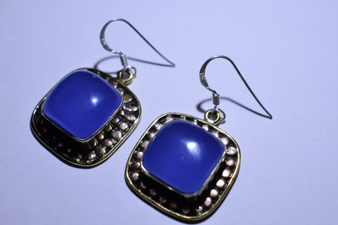 Blue Iolite Square Cabochon Cut .925 Sterling Silver Earrings 1 1/2""