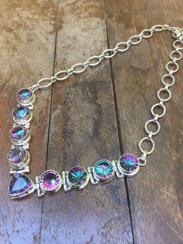Mystic Topaz Gemstones .925 Sterling Silver Necklace 15""
