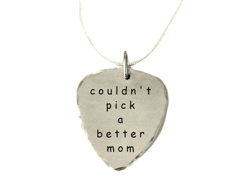 Couldn't Pick A Better Mom|Pick Necklace with Box Chain|Textured and Brushed Finish|BFF Girlfriend Gifts