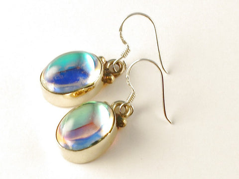 Design 112235 Special Oval Rainbow Mysterious .925 Sterling Silver Jewelry Earrings 1 1/2""
