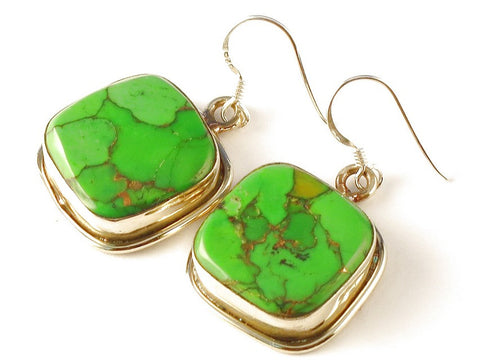 Design 112348 Artisan Jewelry Square Green Copper Turquoise .925 Sterling Silver Jewelry Earrings 1 1/2""