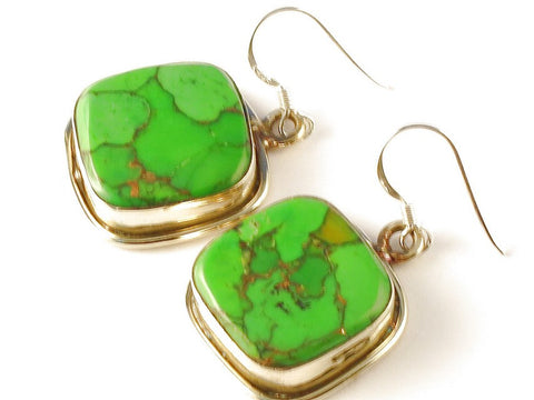 Design 112354 Made By Hand Square Green Copper Turquoise .925 Sterling Silver Jewelry Earrings 1 1/2""
