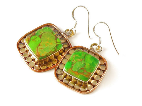 Design 112377 Fancy Square Green Copper Turquoise .925 Sterling Silver Jewelry Earrings 2""