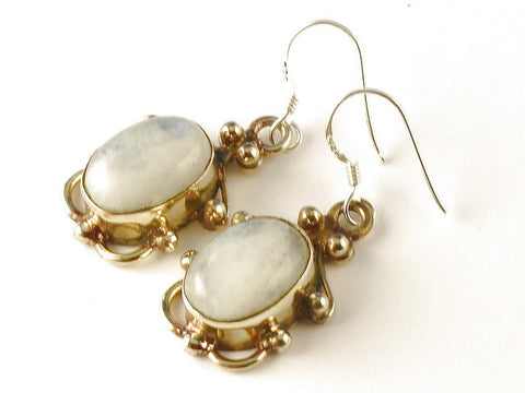 Design 112505 Fair Trade Oval Rainbow Moonstone .925 Sterling Silver Jewelry Earrings 1 1/2""