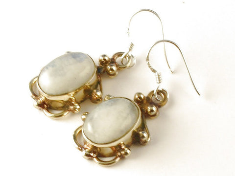 Design 112506 Premium Oval Rainbow Moonstone .925 Sterling Silver Jewelry Earrings 1 1/2""
