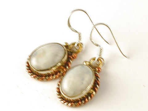 Design 112511 Lovely Oval Rainbow Moonstone .925 Sterling Silver Jewelry Earrings 1 1/2""