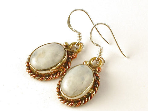 Design 112513 Shimmering Oval Rainbow Moonstone .925 Sterling Silver Jewelry Earrings 1 1/2""