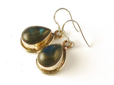 Design 112541 One-Of-A-Kind Pear Labradorite .925 Sterling Silver Jewelry Earrings 1 1/2""