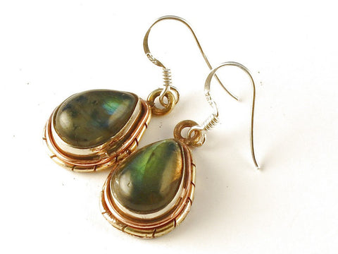 Design 112543 Made By Hand Pear Labradorite .925 Sterling Silver Jewelry Earrings 1 1/2""