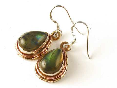 Design 112545 Fancy Pear Labradorite .925 Sterling Silver Jewelry Earrings 1 1/2""