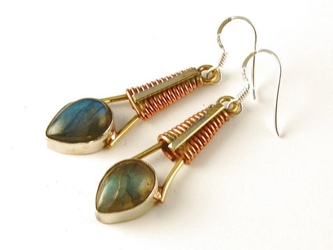 Design 112550 Special Pear Labradorite .925 Sterling Silver Jewelry Earrings 2 1/2""