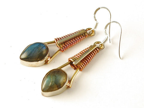 Design 112552 Jewelry Closeout Pear Labradorite .925 Sterling Silver Jewelry Earrings 2 1/2""
