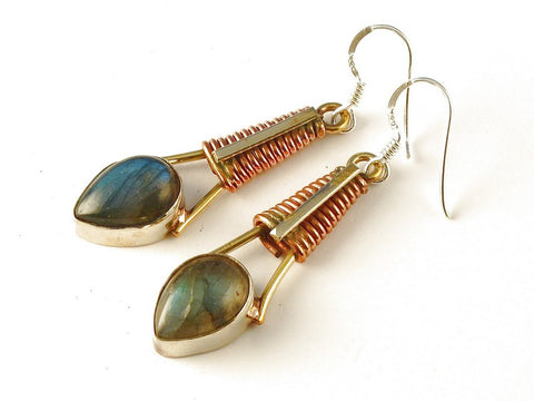 Design 112553 Lovely Pear Labradorite .925 Sterling Silver Jewelry Earrings 2 1/2""