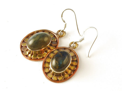 Design 112560 Original Oval Labradorite .925 Sterling Silver Jewelry Earrings 1 1/2""
