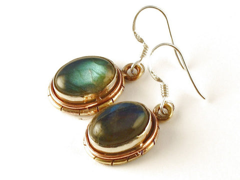 Design 112563 Handmade Oval Labradorite .925 Sterling Silver Jewelry Earrings 1 1/2""